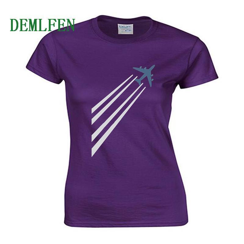 Самолет печати тенниска Женщины с коротким рукавом O-образным вырезом Хлопок футболки лето Смешная I Am Пилотный Тис Рубашки Повседневный Уличная