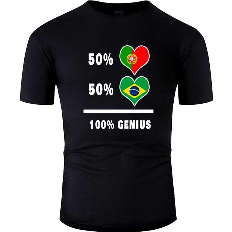 Португалия и Бразилия Гениальный Футболка Harajuku Streetwear Футболка мужская с коротким рукавом футболки Мужчины Женщины Tee Shirt