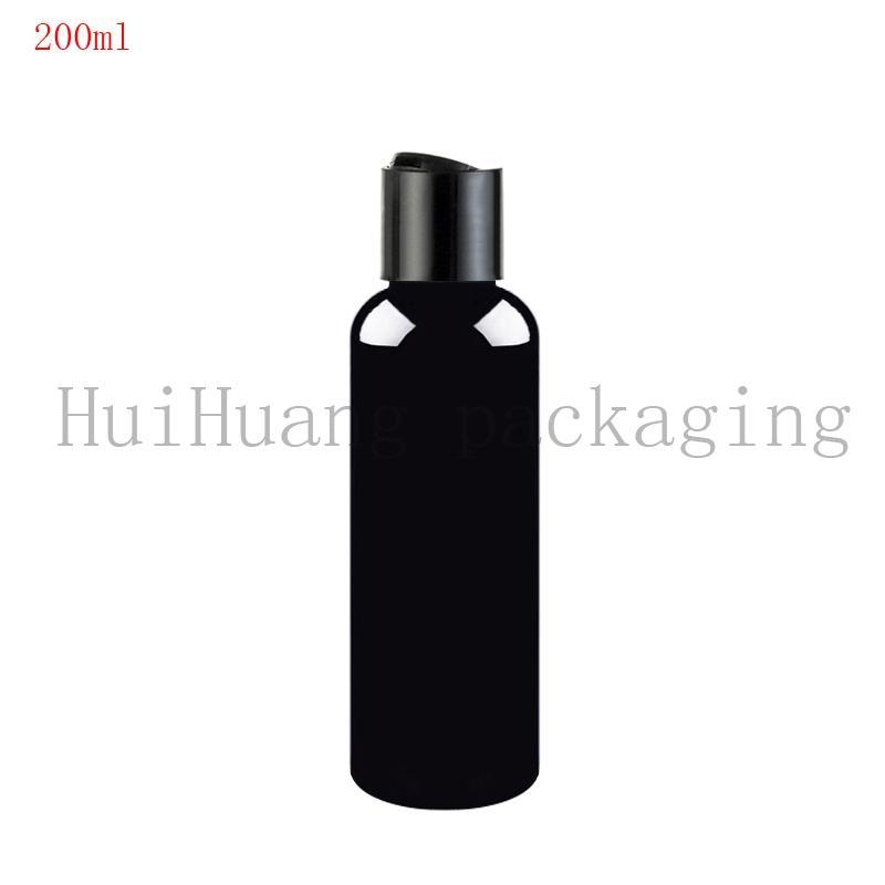 40pcs 200ml Disk Vidalı kapak Kozmetik beyaz Şişe, Plastik Konteyner, siyah boş şişeleri 200cc siyah Şişe