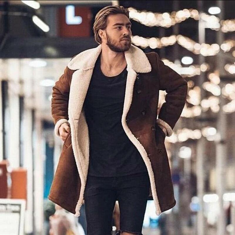 2020 Winter Мужская Fur руно Новая мода пальто Шинель Мужской отворотом Теплый Пушистый Длинные Стиль Brown Jacket Верхняя одежда плюс размер