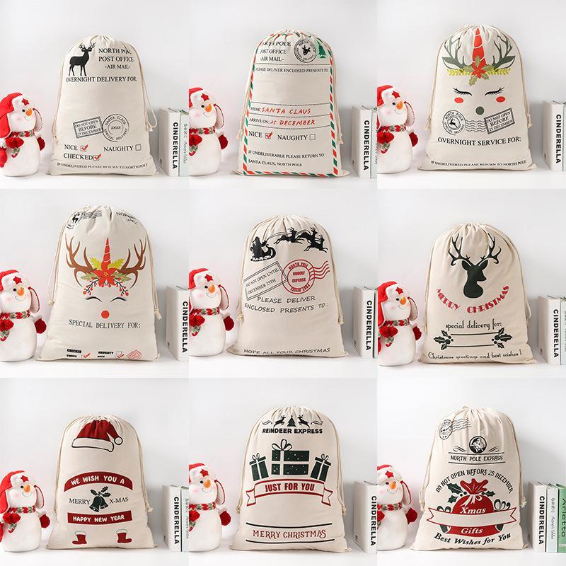2020 Sankt-Säcke 50 * 70cm reines Baumwollsegeltuch nette Süßigkeit Geschenk Weihnachten Tasche Schneemann Weihnachtsmann Hirsch Santa Sack Weihnachtsschmuck Anhänger