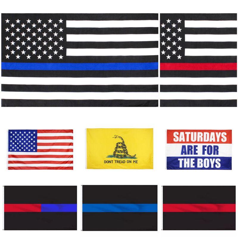 DHL Amerika Präsidentschaftswahl Flagge Präsidentenkampagne Banner 90 * 150cm US-Flaggen Blue Line USA Flags Treten Sie nicht auf mir Gadsden-Flagge