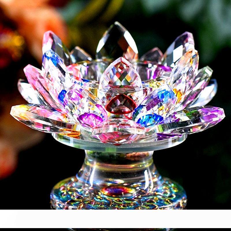 9 * 11см кристалл держатель свечи лотоса держатель Butter лампа Кристалл свечи настольное украшение СУВЕНИРЫ принадлежности Craft Gift буддизме