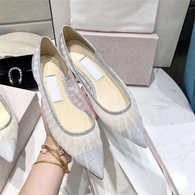 Mesh cuir blingbling Chaussures de mariage blanc Femmes Mode Marque Designer Hauts talons Pointu Slip Toe sur Chaussures Femme Top qualité