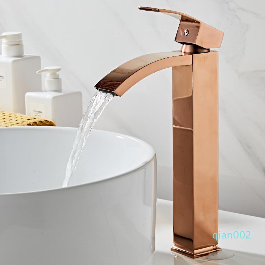 Бассейна латунь ванной одной ручкой torneiras пункт Пиа де banheiro розового золота раковина Wash водопад кран T200107