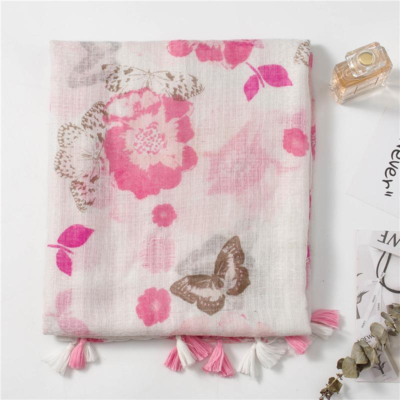 Le donne della protezione solare di seta di cotone sciarpe moda e lino sciarpa in stile etnico inverno nappa Pink Butterfly scialle spiaggia d'estate asciugamano