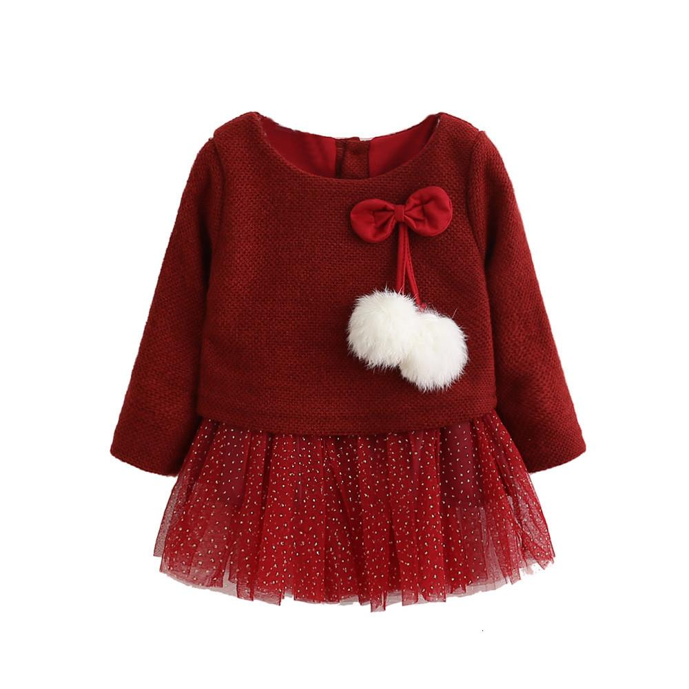 Christmas Bow Hairball Dress For Girls Long Sleeve Regular Dress Cartoon Print Sequin Party Princess Dress for kids Winter 1D6