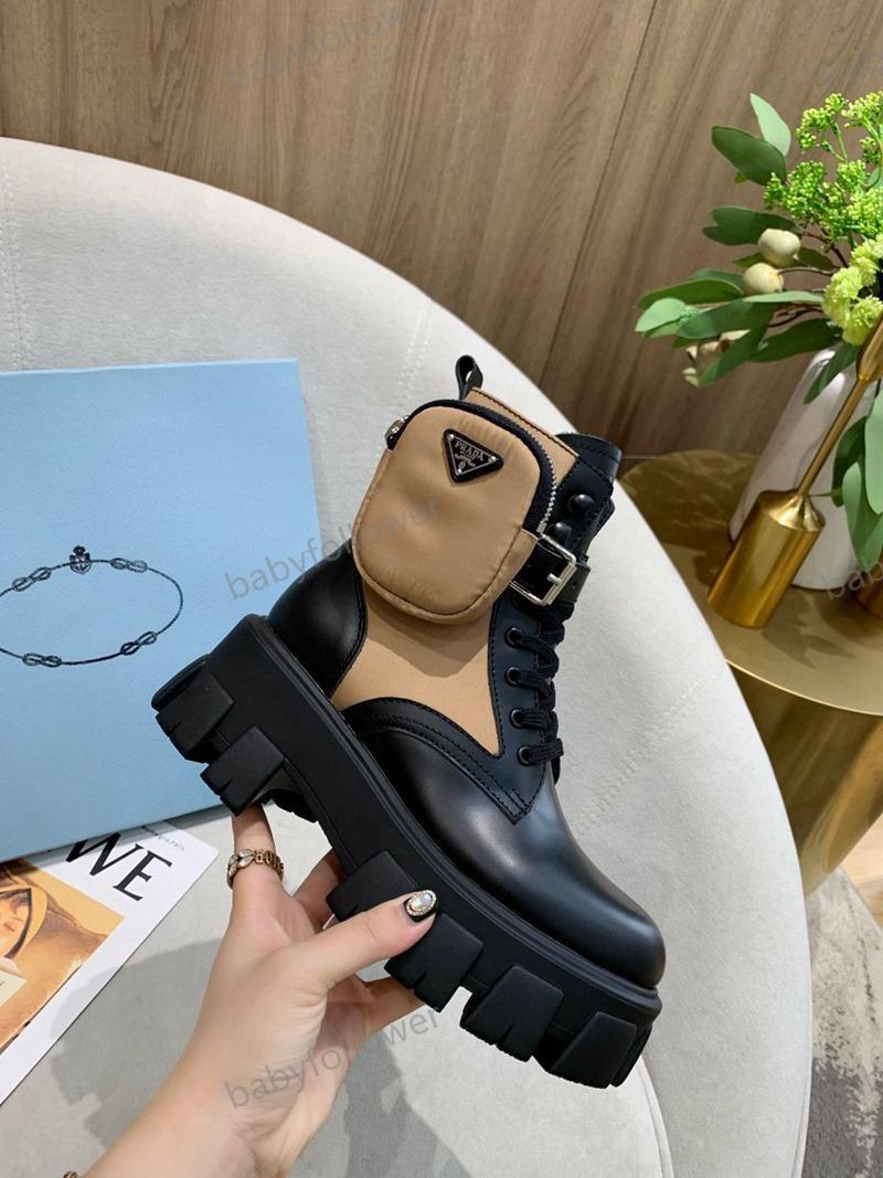 Prada shoes venta-gruesos del talón mujeres martin zapatos botines de encaje genuina única botas de cuero de la vaca muscle encima de la bota tacón grueso hasta damas seguidor