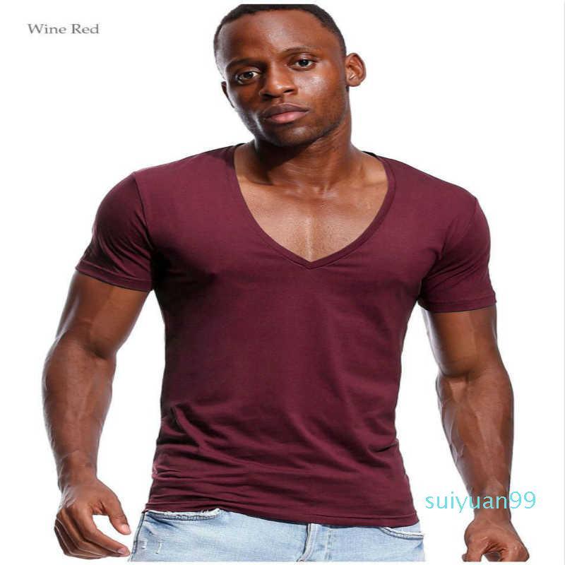 Erkekler Low Cut Vneck Geniş Vee Tee Erkek Tişörtü Görünmez Atlet Model Scoop Hem Slim Fit Kısa Kollu için Sıcak Satış Derin V Yaka T Shirt