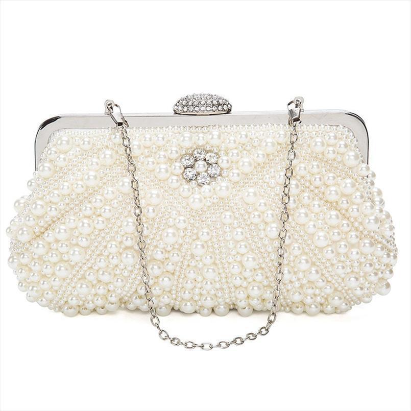 Perla delle donne dei sacchetti di frizione del sacchetto di sera della borsa della borsa Per Wedding Bag For Dinner Party, Bianco