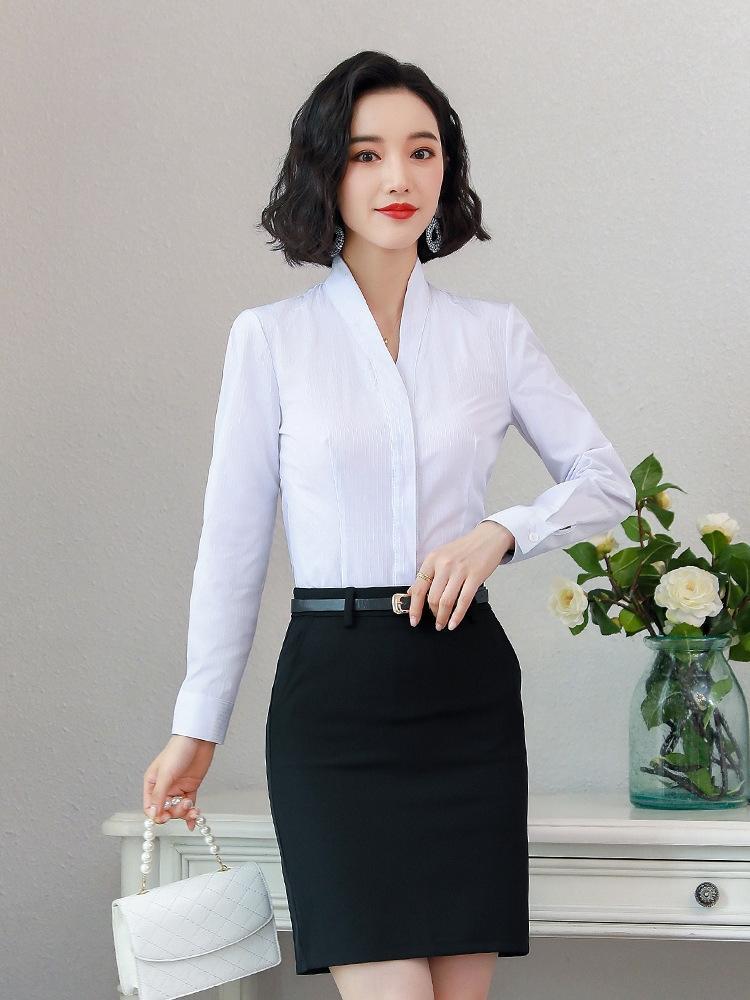 shirt dos 4kNOx 7nQCr Novas mulheres de mangas compridas finos Airlines desgaste V-neck camisa magro China Southern conjunto base de inverno de negócios Hotel outono e