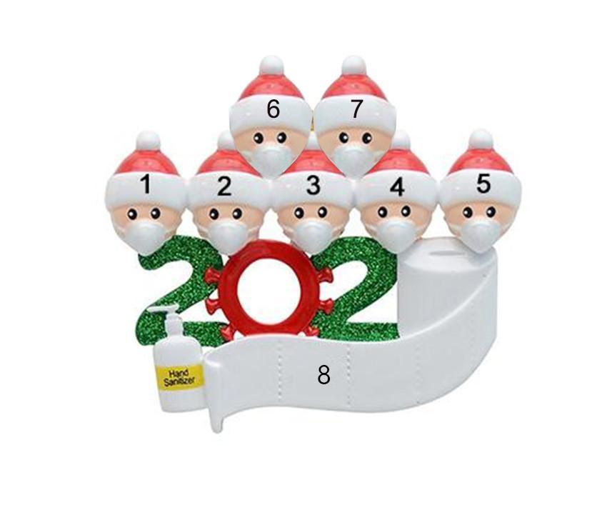 2020 Quarantine Natale Compleanni partito regalo Prodotto decorazione personalizzata Famiglia Di 5.6.7 Ornamento Pandemic sociale distanze FY4265