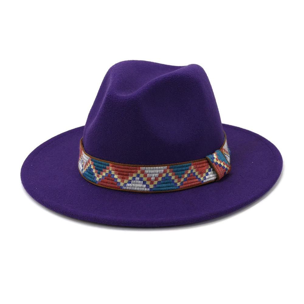 على نطاق واسع قبعات بريم أخضر فاتح واسعة بريم فيدورا الرجال الصوف ورأى القبعات الكاكي عارضة الجاز قبعة المرأة الصلبة الشريط تريند فيدورا