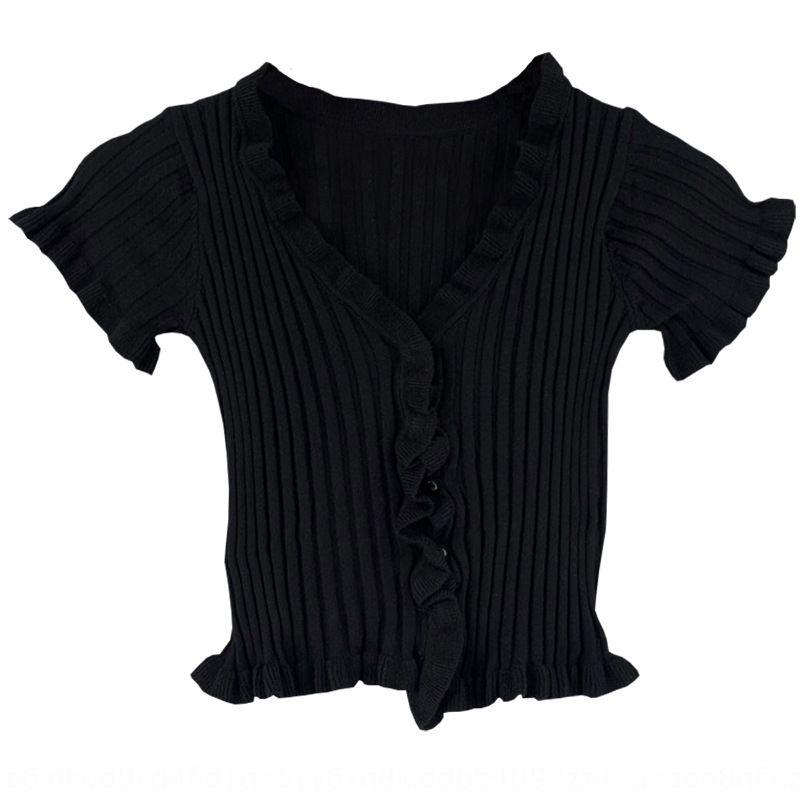 Corea del verano 2020V corta cuello de la manga del lado del oído de madera nueva de punto chaqueta de punto estilo de la camiseta de las mujeres 3 colores Corea occidental Weste mujeres del estilo