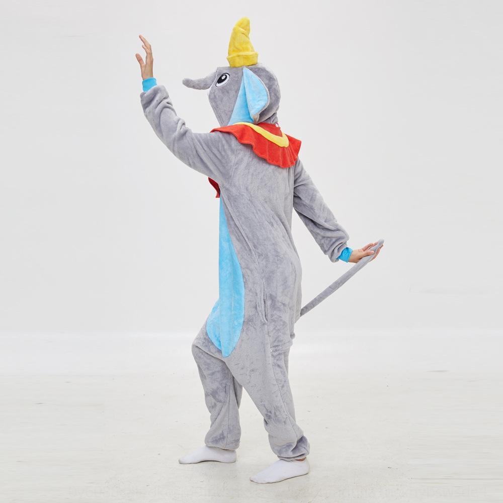 pryA2 фланели милых маленьких летающего слона мультфильм животные Цельных супруги пижама родитель-ребенок дом одежда пижама