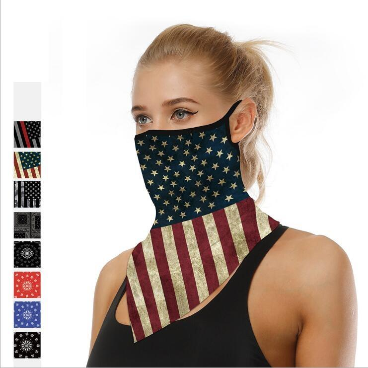 Outdoor Cycling Face Mask Men Women Riding Ear Hangers Insect Prevention Masks Digital Print Multifunctional Bib Triangle Scarf for Unisex