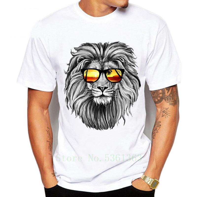 Güneş Aslan Tshirts 2020 Yeni Erkekler t-shirt Moda Lion Hayvan yumuşak ve rahat Kumaş T gömlek yazdır Soğuk Tees Tops