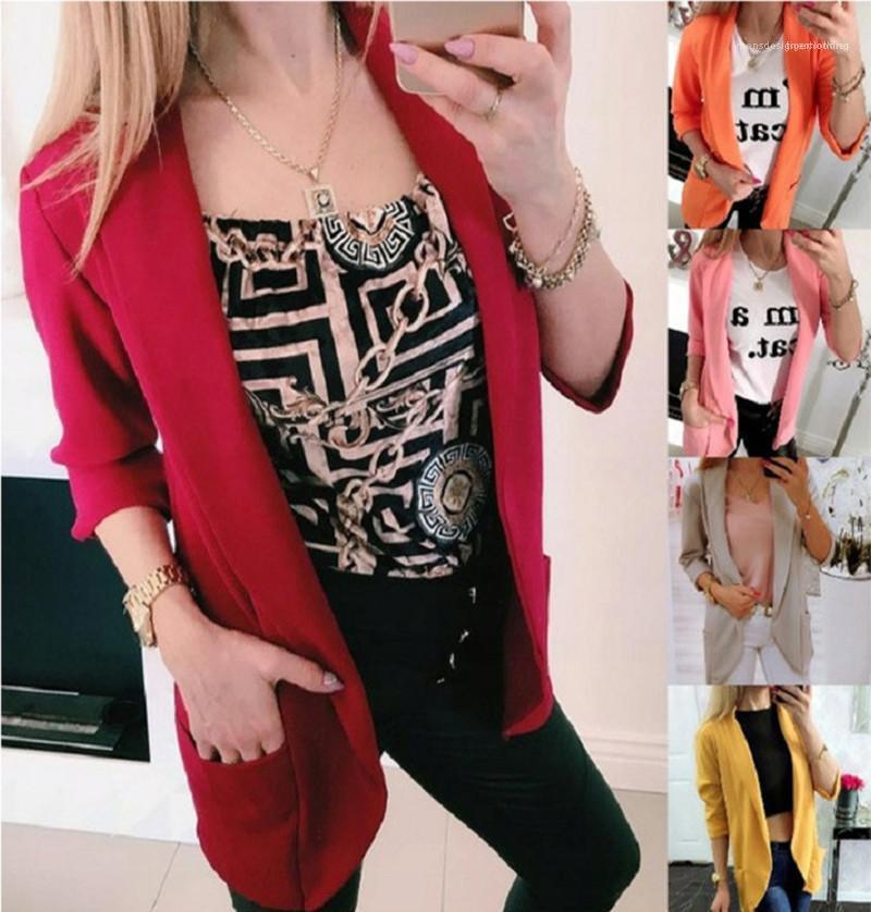Для женщин пальто 19AW женщин конструктора пальто моды сплошного цвет отворот шея Сыпучего костюм пальто вскользь Новое прибытие