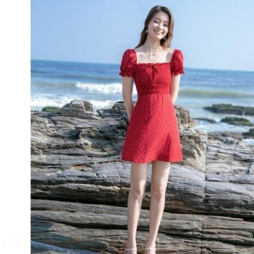 sMWeJ ooWO6 красный лето новый французский горошек похудение A- линия юбка пляжа юбка талией 2020 пляжный отдых платье A- линия платье