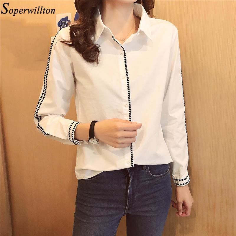 Camisa blanca oficina de las mujeres de la blusa de manga larga elegante de señora Embriodery algodón de las tapas 2020 gira el collar abajo Blusas trabajo Fashion Wear