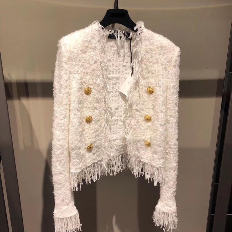 유럽 가을 겨울 코트 여성 2020 우아한 화이트 술 버지니아 목 긴 소매 짧은 모직 코트 자켓 여성