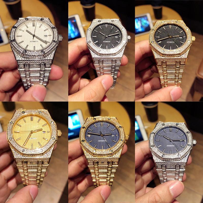 Audemars Piguet ap Gold Herrenuhr Designer Royal Oak Offshore Chronograph Funktion Diamant Voll Iced Out Uhren Männer Quarz-Uhrwerk Qualität Uhr WLD1 #