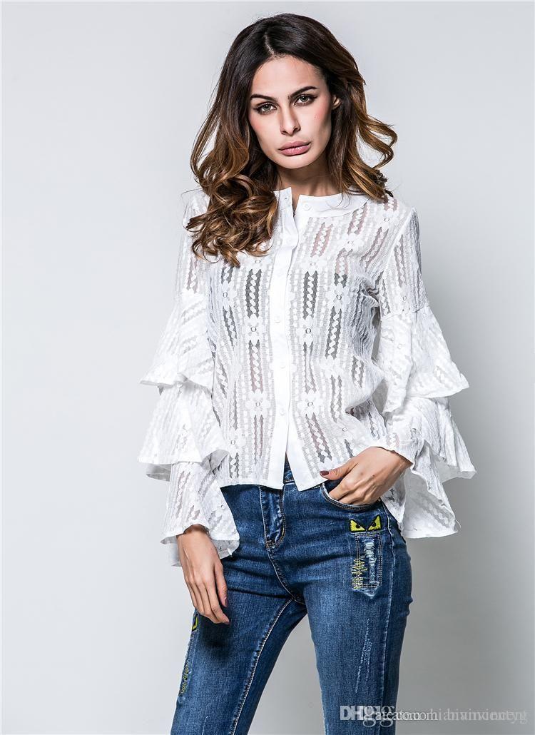 Midriff per le donne di alta qualità per le donne ragazze maglieria in cima estive cina sexy casual grossista Grossista camicie in chiffon striscia maglietta di pullover in pizzo con scava fuori moda donna