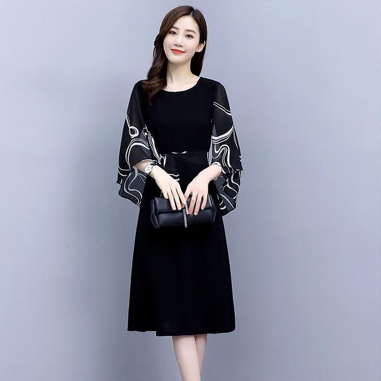 LInRP 2020 юбка Элегантная большого размера средней длиной платье богиня мама летом талии долго Новый длинная юбка похудения вентилятор одежда лето свет созревает ж