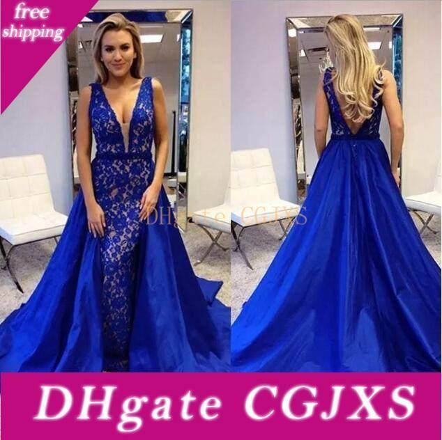 Arabic Royal Blue Mermaid Evening Dresses With Detachable Train Elegant Lace Deep V Neck Formal Evening Gowns Red Carpet Celebrity Dresses