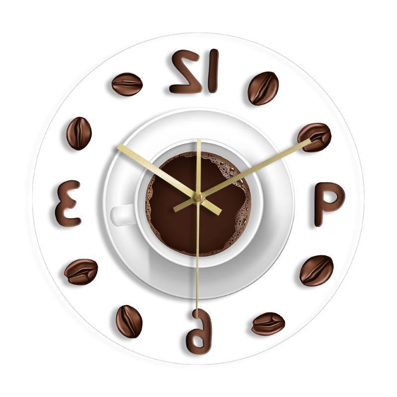 ilustración de café Dibujo de la mano de cocina reloj de pared moderno de impresión idea minimalista reloj de pared de acrílico del reloj del regalo para los amantes del café