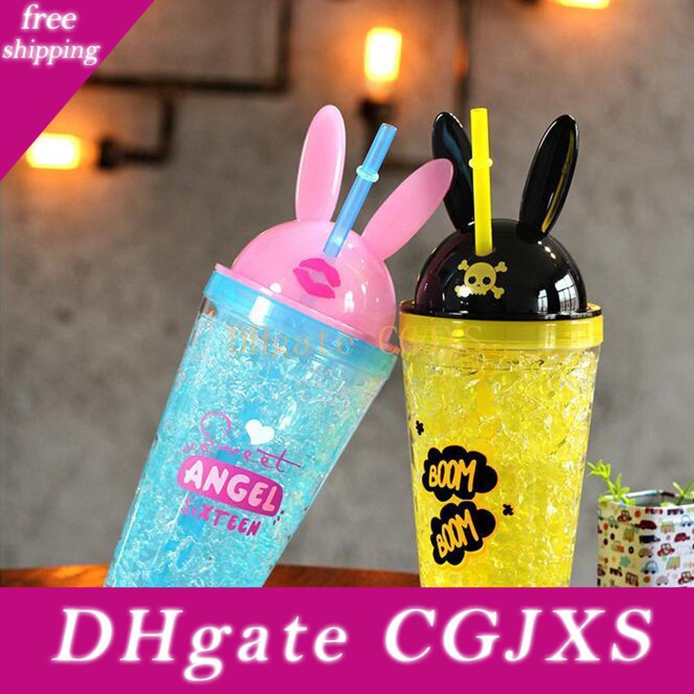 Reizende Karikatur-Kaninchen-Eis-Cup Saft Wasserglas Sommer Bunt Cool Ice Doppel Kunststoff Stroh Paar Cup Wasser-Saft-Glasflaschen Trinkgefäße