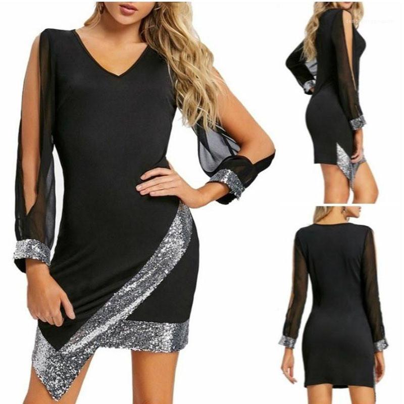 V шеи платья женские Блестки Повседневные платья панелями выдалбливают рукавом женщин конструктора платья Natural Color Sexy