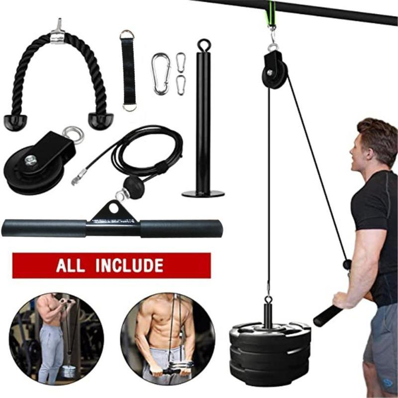 DIY Pulley Cable Machine Attachment System Fitness Arm Biceps Triceps Blaster Hand Strength Trainning Home Gym Workout Equipment