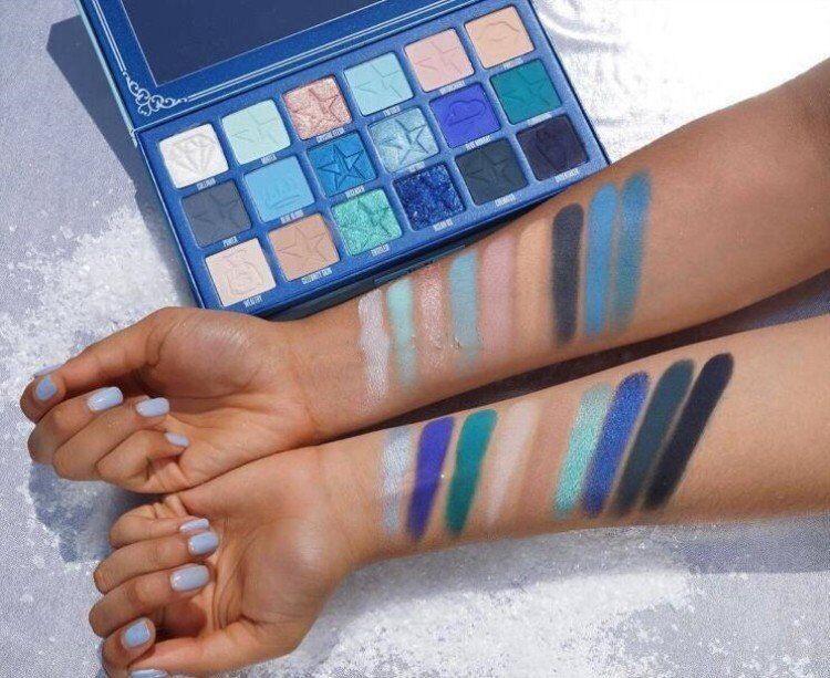 JS голубой крови 18colors Eyeshadow Palette JS Расширенный Синий тон Shimmer Блеск Матовый Eye Shadow Powder Plate