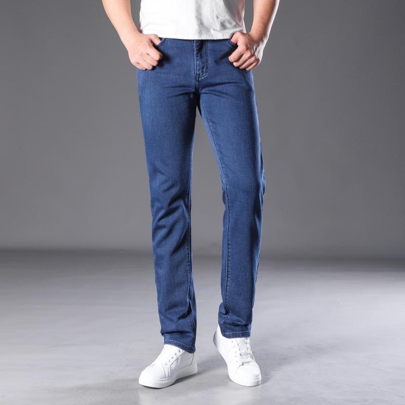 Spring Automne 2020 Hommes Smart Jeans Mode Business Fashion Droite Régulier Bleu Stretch Denim Pantalons Classic Hommes Plus Taille 29-42