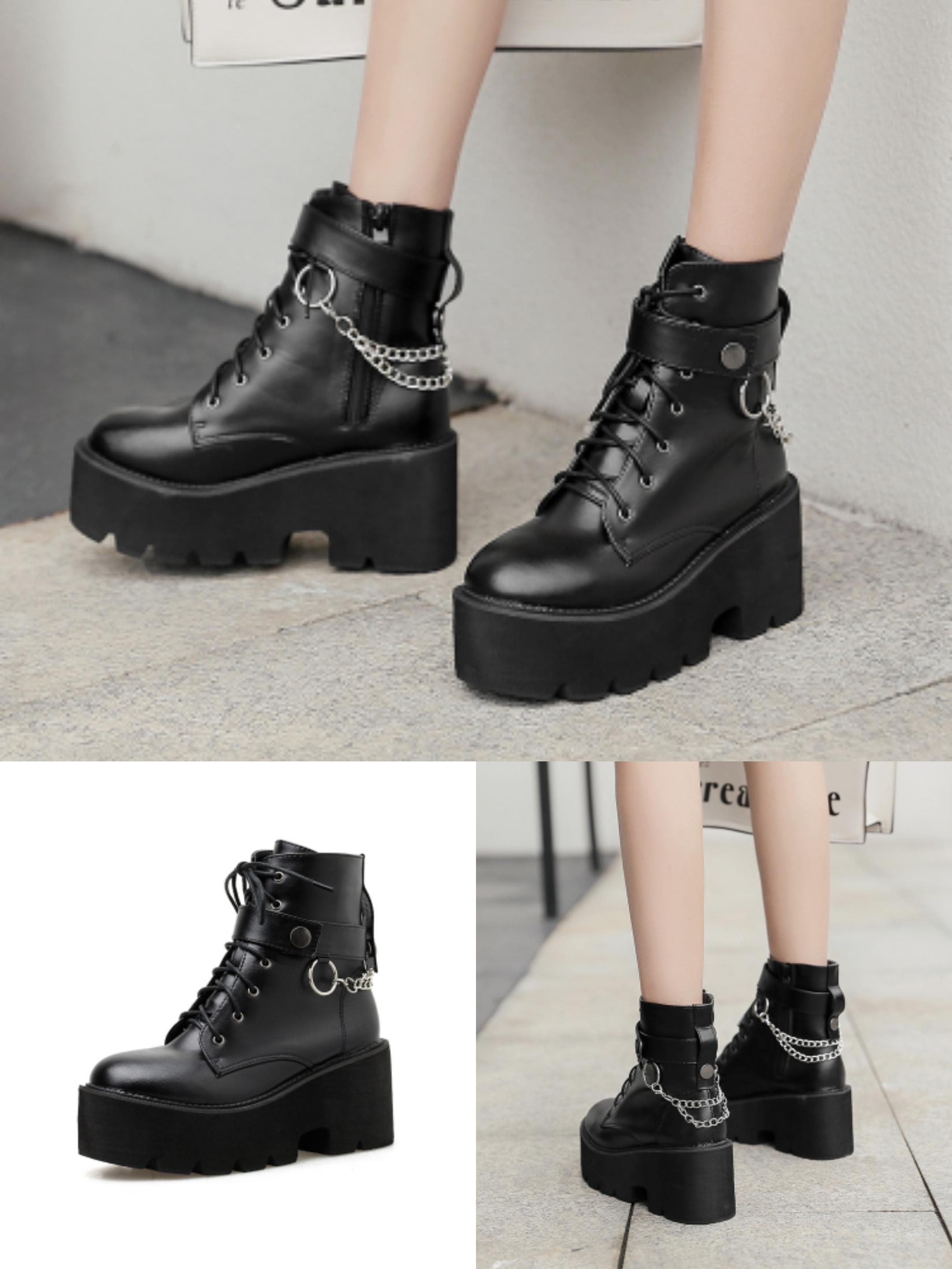Womens Lace UP Ankle Boots Round Toe High Block Heel Punk Platform SHoes Autumn