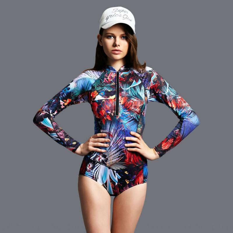 Bonis moda costume da bagno di stampa nuova moda elementi surf colore corsa costume intero a manica lunga per le donne LcRqd