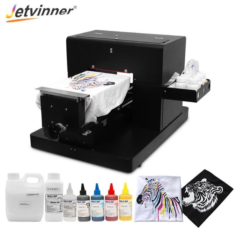 Jetvinner Impresora Plana A4 DTG Impresora camiseta para Tela Tela blanca y en color camiseta oscura directamente con RIP 9,0