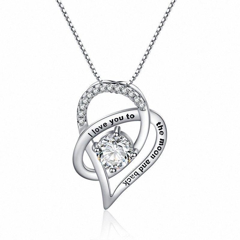 Collar del corazón mujeres de la manera cadena de la joyería de la personalidad del collar de alta calidad del regalo uxvK #