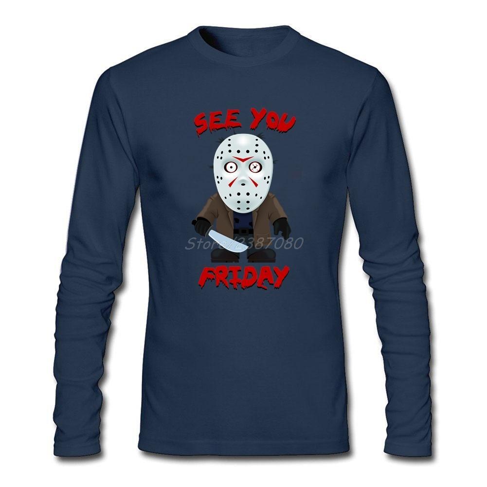 Hiphop Viernes 13 Jason camiseta de lycra ropa de algodón de manga larga personalizado vemos el viernes camisas de los hombres
