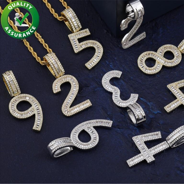 Iced Out Pendant Bling Diamante Número de Luxo Designer Colar Hip Hop Jewelry Men encantos Mulheres Rapper Moda Hiphop Miami Ouro Prata Boy