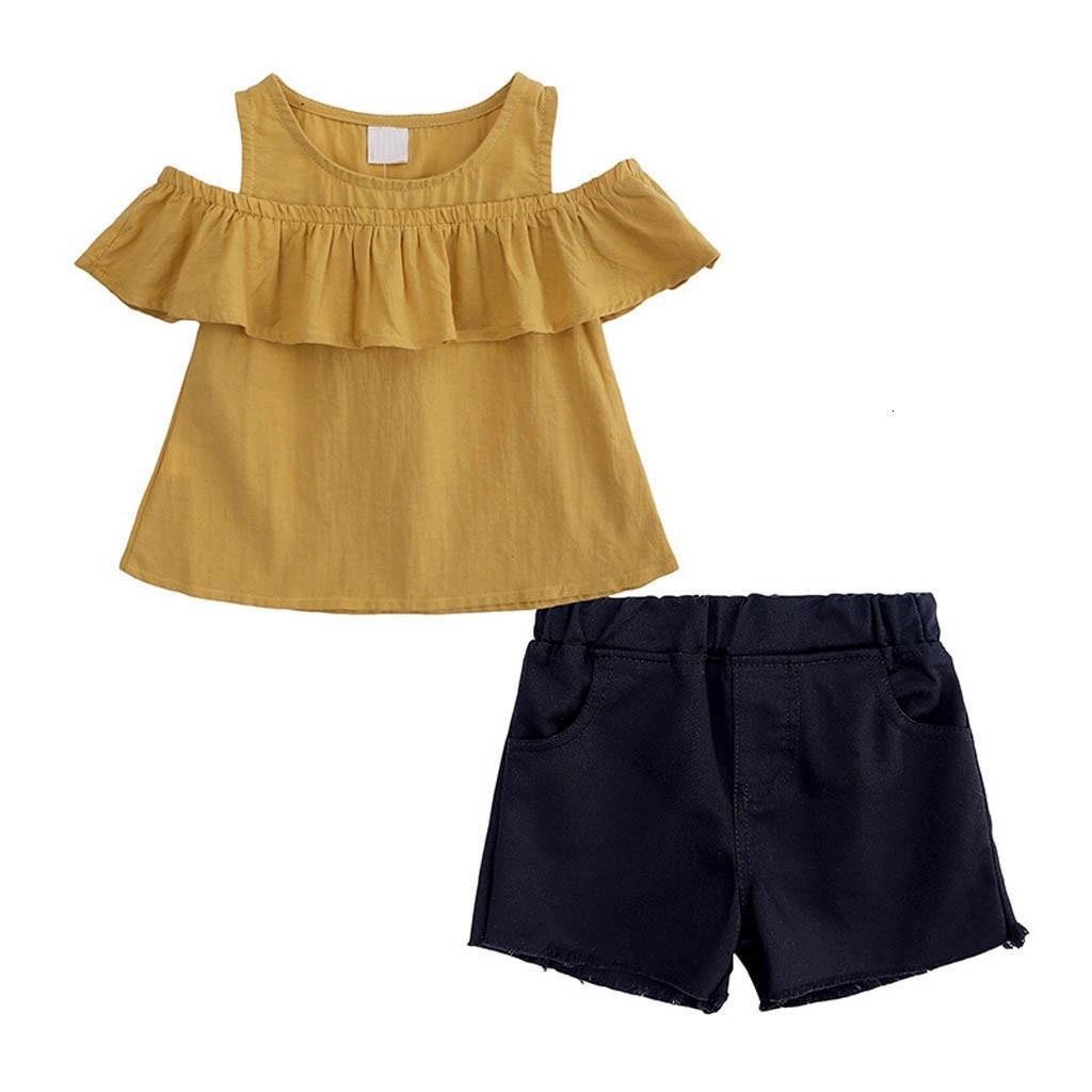 Gümrükleme Mükemmel EN YENİ sevimli bebek kız Bebek Çocuk Kız Bebek Ruffles Off Omuz Tops + Katı Şort Pantolon Kıyafetler Seti Z0214
