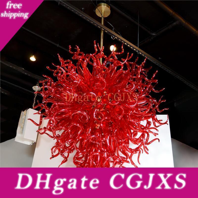 Soffiato rosso Luci del pendente Shades Led mano Glass Chandelier Bar Lobby Coffee Shop Art Decor Vetro di Murano lampadario di cristallo
