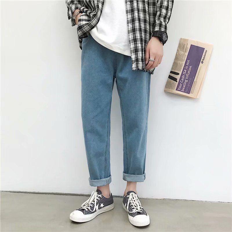 nuova tendenza di stile dritto pantaloni jeans e jeans degli uomini coreani casuali pantaloni casual giovanili sciolto F6m4Z Kl0HB estive