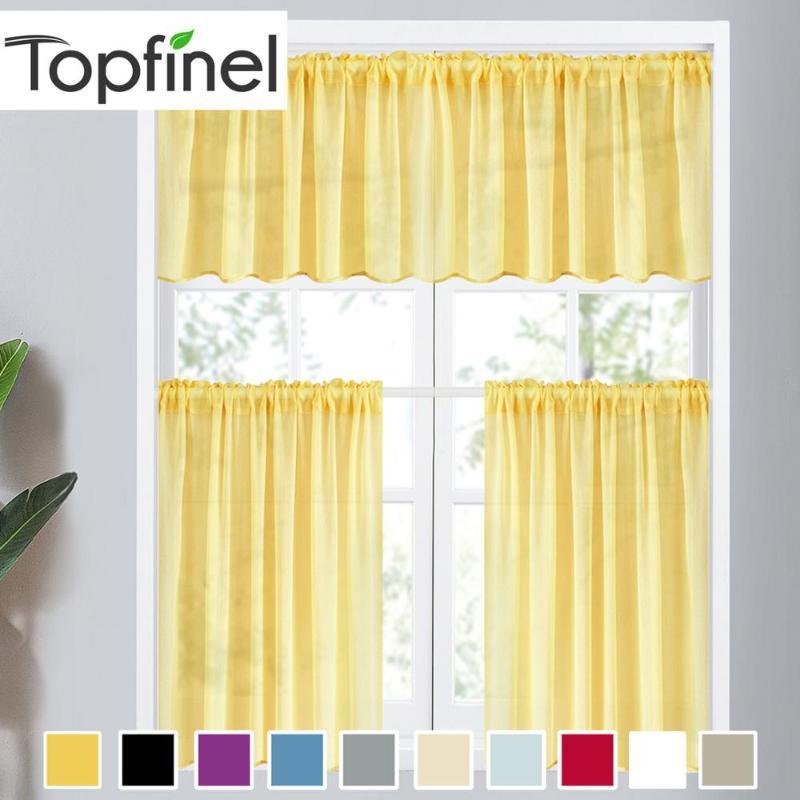 Topfinel Sheer Rideaux Moderne Plaine Jaune Solide Couleur court Rideaux pour Salon Tulle fenêtre Drapé Voile pour la cuisine