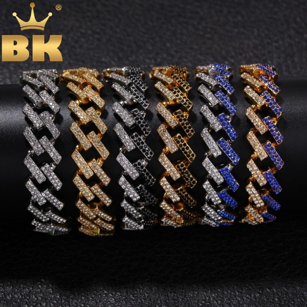 Bling KING Moda Mens Bracelet completa para fora congelado Pedrinhas 15 milímetros Prong cubana Fazer a ligação azul / preto Multi-colorido Hiphop Pulseiras Y200810