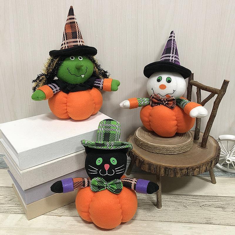 decoración de Halloween Calabaza muñecos de peluche Juguetes bruja, Gato Negro, Snowman Holiday Festival Decoración Prop regalo JK2008XB