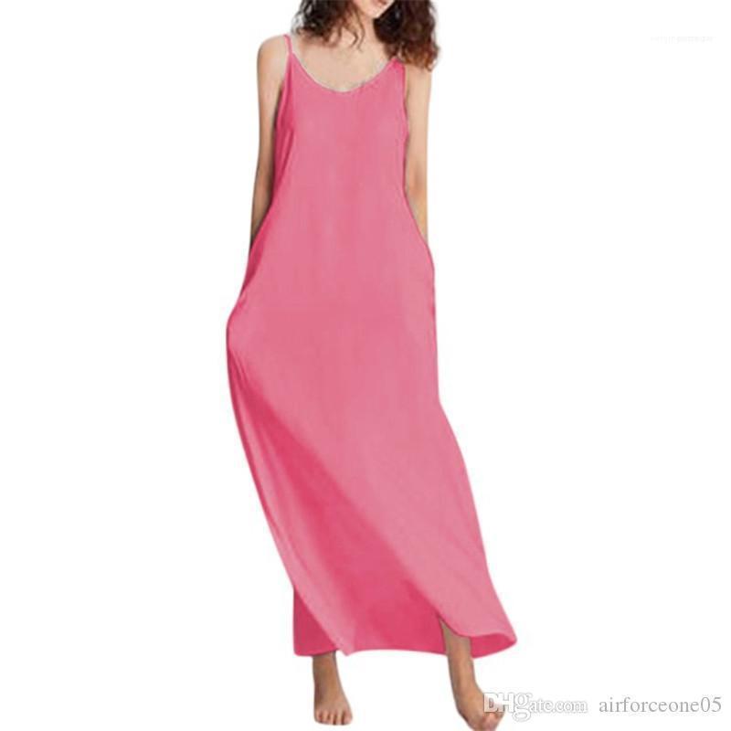 Bayanlar Tatiller Moda Tasarımcısı Giyim Yaz Saf Renk Kadın Elbise Kadın Scoop Boyun Kolsuz Katı Elbiseler Casual