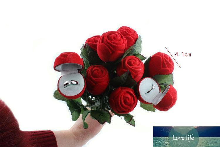 Creative Rose Flower Wedding Jewelry Box Bridal Engagement Earring Ring Pendant Jewelry Display Red Gift Case Holder 25*4.1cm