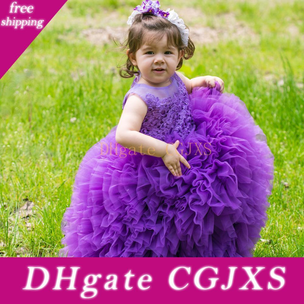 Новая принцесса Фиолетовые Маленькие девочки Pageant платья Jewel шеи Многоуровневое Тюль малышей Glitz Pageant платья для детей девочек День рождения Gowns